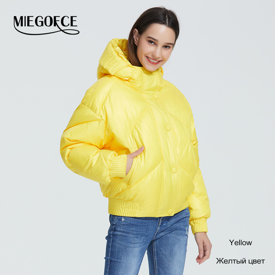 MIEGOFCE 2020 New Design Winter Coat Women's Jacket Insulated Cut Waist Length With Pockets Casual Parka Stand Collar Hooded 8