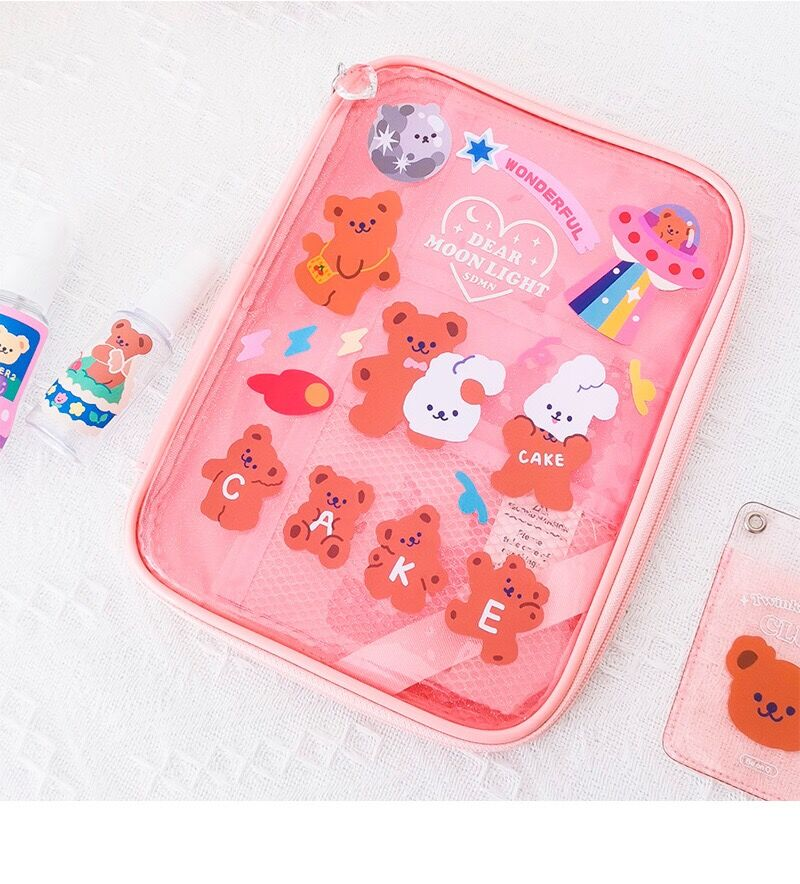 2Pages Cartoon Korea Bear Sticker DIY Luggage Label Home DIY Post Sticker Laptop Bag Cup Accessory Diary Scrapbooking Stationery