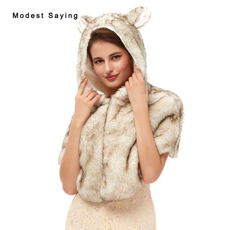 New Design Elegant Faux Fur Wedding Hooded Shawls 2020 Fashion Bridal Party Boleros Cape Stoles Warm Wraps Wedding Accessories