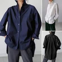 Camicia solida da donna caftano ZANZEA 2021 Casual manica lunga allentata Stand Up colletto camicette autunno top tasche Chemise Plus Size 5XL