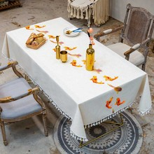 3D Fish Embroidered Tablecloth With Tassel Lace Waterproof Oilproof Dinner Rectangular Wedding Home Garden KitchenTable Cover