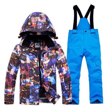 Kids Winter Ski Set Waterproof Windproof Children Super Warm Skiing Jacket And Pants Suit Boys Girls Snowboard Snowsuit Clj512