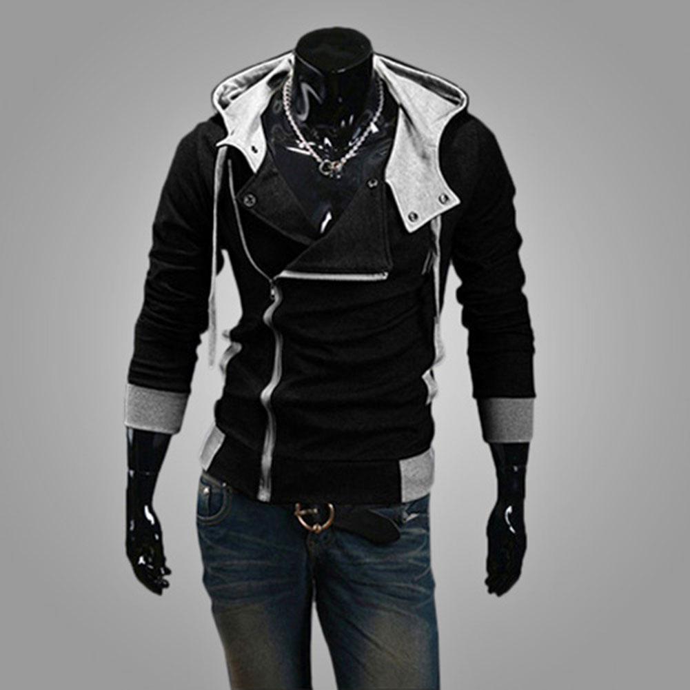 Fashion Men Fleece Hoodies Sweatshirt Color Patchwork Side Zipper Jacket Casual Men Long Sleeve Black Gray Blue Hoodied Coat