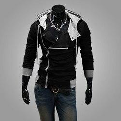 Mode Mannen Fleece Hoodies Sweatshirt Kleur Patchwork Side Rits Jas Casual Mannen Lange Mouw Zwart Grijs Blauw Hoodied Jas