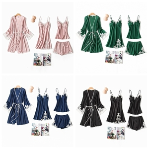 Image 5 - JULYS SONG 4 Pieces Women Pajamas Sets Lady Elegant Sexy Lace Simple Faux Silk Sleepwear Sets Spring Summer Autumn Home wear