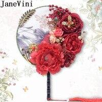 JaneVini искусственные пионы для невесты букеты красные шелковые цветы кисточкой для женщин Свадебные подиума пышный свадебный веер букет де Р...