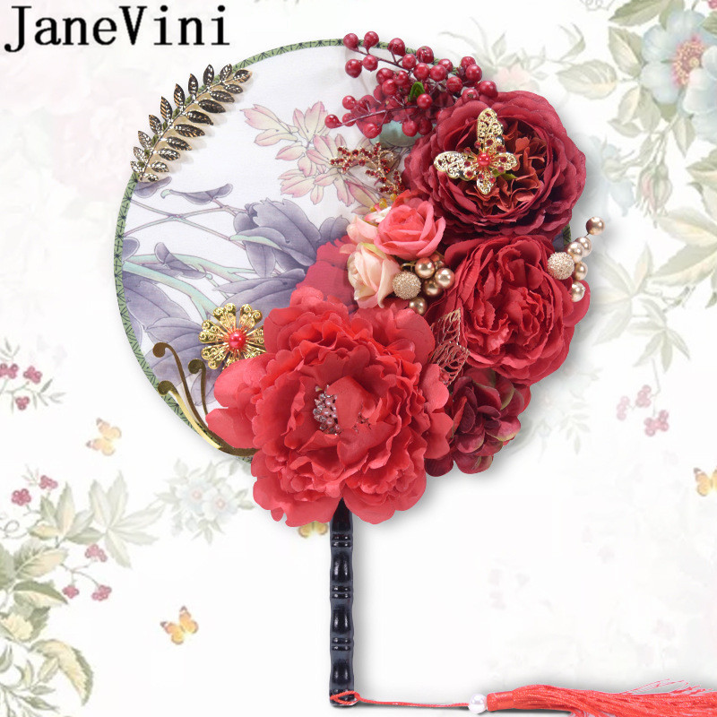 JaneVini Artificial Peony Bridal Fans Bouquets Red Silk Flowers Tassel Women Wedding Catwalk Pageant Bride Fan Bouquet De Rose