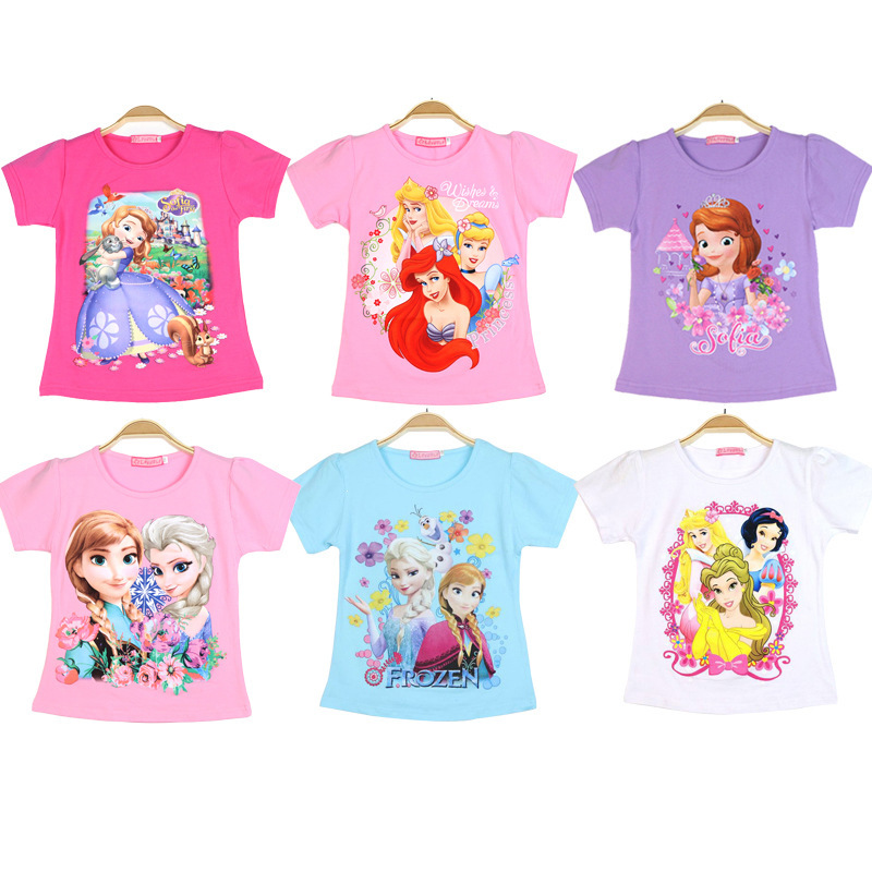 Disney Frozen Baby T-Shirt Top Fashion Casual Toddler Girl Cartoon Print T-Shirt Pink Anna Aisha Cotton Baby Girl Summer Clothes