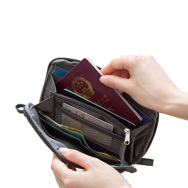 Travel Digital Pouch Nylon Travel Passport Case Multi Purpose Zipper Card And ID Holder Cable Gadgets Organizer