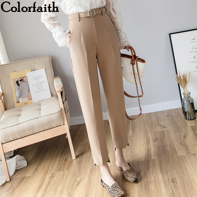 Colorfaith New 2019 Autumn Winter Women Pants High Waist Loose Formal Elegant Office Lady Korean Style Ankle-Length Pants P7110