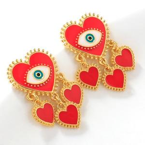 AENSOA Retro Gold Color Evil Eye Statement Earrings For Women Vintage Metal Heart Shape Metal Tassel Big Drop Earrings Jewelry