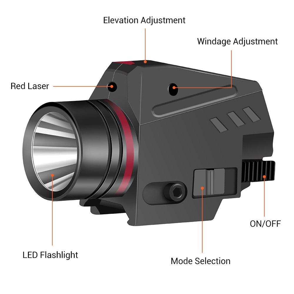 Tactical LED Weapon Gun Light Flashlight Red Dot Laser Sight Military Airsoft Pistol Gun Light for 20mm Rail Mini Pistol Gun-2