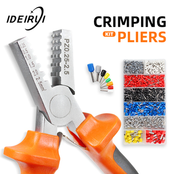 crimping tool set crimp tools wire crimping tool kit ferrule crimping plier tools 1200pcs wire ferrule terminals kit 0 25 10mm² PZ0.25-2.5 Crimp Terminal Wire Connectors and Ferrule Crimper Plier Crimping Tool 1200pcs Tube Terminal Kit