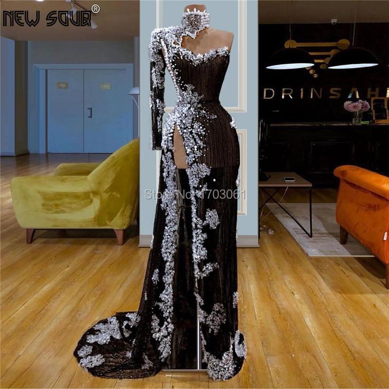 Robe De Soiree New One Shoulder Formal Prom Dress Women Evening Dresses 2019 Couture Dubai Long Party Gowns For Saudi Arabic Vestido De Festia Longo Kaftans 2020