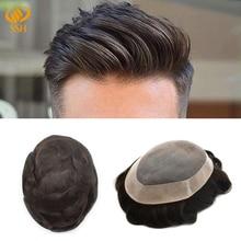 SSH моно парик для мужчин с фронтальной шнуровкой, сменный мужской дышащий парик для мужчин, Прочный парик для мужчин, Mono& NPU, Реми человеческие волосы, система