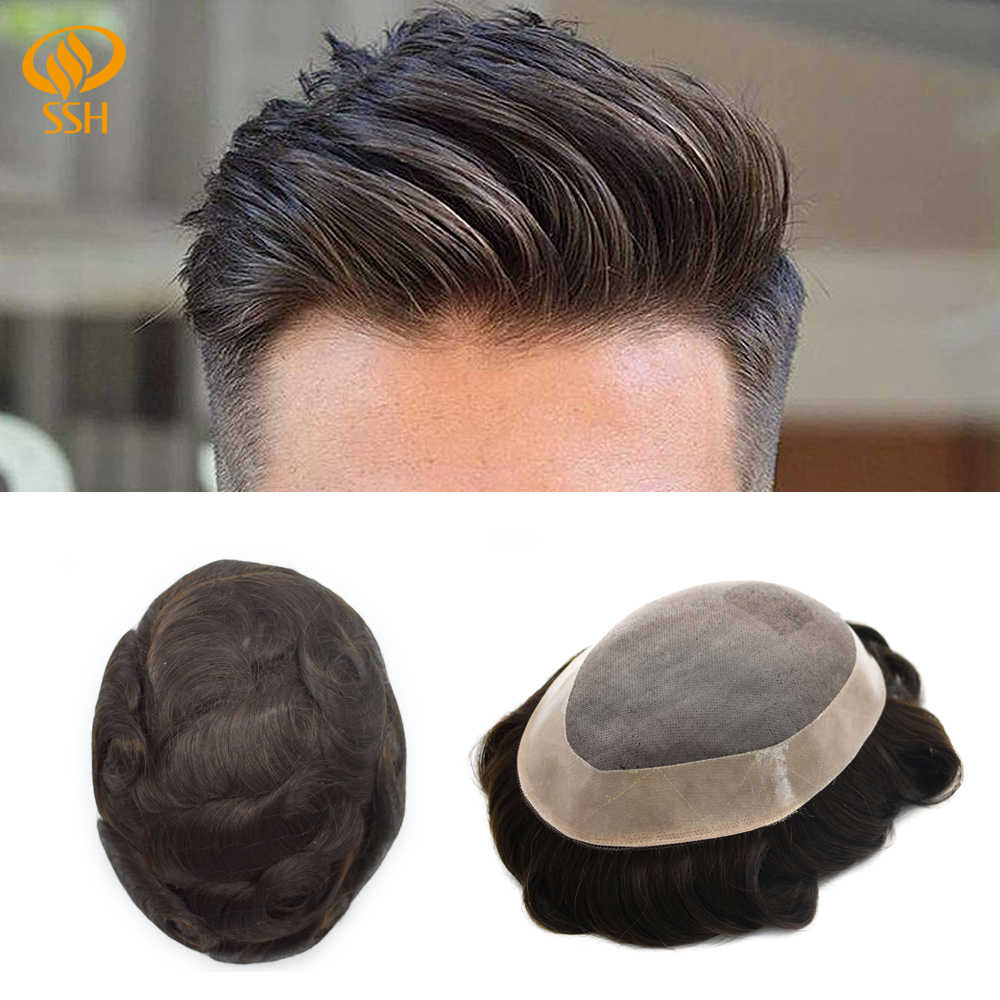 SSH Mono Lace Frontal Men Hair Replacement Breathable Toupee Mens Male Wig Durable Hairpieces MONO & NPU Remy Human Hair System