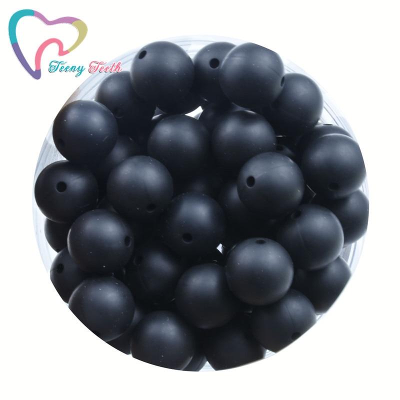 10 шт., черные круглые силиконовые бусины-прорезыватели для зубов 9-19 мм, шестиугольные бусины для самостоятельного изготовления ожерелий, ...