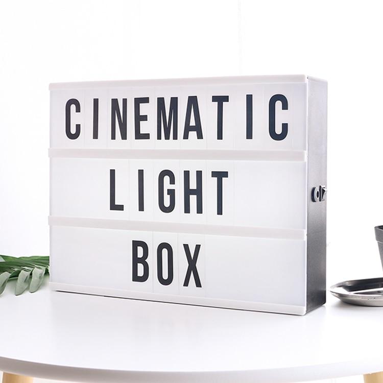 Novelty A4 Size LED Combination Cinema Light Box Night Lamp DIY BLACK Letters Cards USB PORT Powered