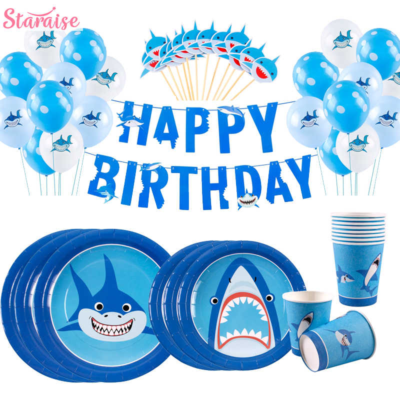 Staraiae 8 Uds. Feliz cumpleaños Shark vajilla de papel desechable océano fiesta decoración para el cumpleaños del chico Baby Shower Boy Party Supplies