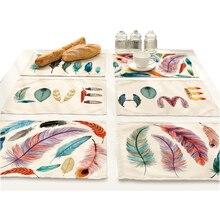 Manteles individuales para cena con estampado de plumas de pájaro, manteles individuales para mesa, posavasos, mantel impermeable, accesorios de cocina, decoración para hogar y Hotel