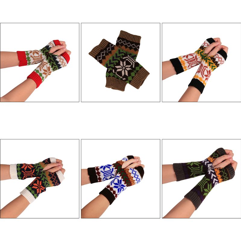 Winter Touch Screen Half Finger Gloves Charm Women Wool Knit Xmas Warm Glove