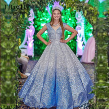 2020 Custom Made Ball Gown Wedding Dress Sequin Lace Beads Wedding Dress Real Pictures Light Blue