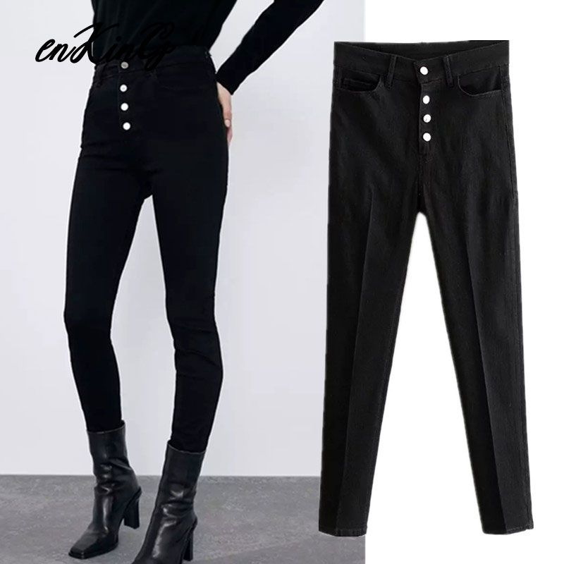 2020 England Vintage  Black Za Jeans Woman High Waist Jeans Single Breasted Push Up Supper Skinny Sexy Jeans For Women