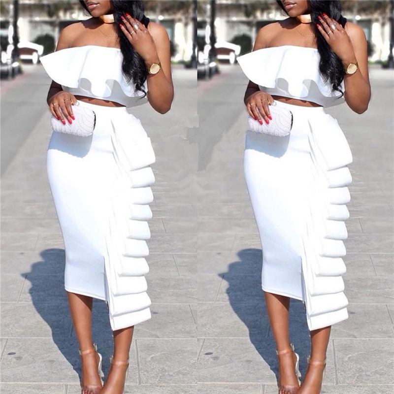 Two Pieces Cocktail Dresses Tiered Sexy Women Lady Dress With Ruffles White Black Homecoming Dress In Stock Real Photo YSAN242