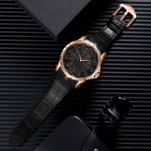 ONOLA brand unique quartz watch man luxury rose gold leather cool gift for man watch fashion casual waterproof Relogio Masculino 6