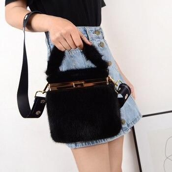 Mink fur makeup bag small square real womens shoulder cross handbag fashion plush