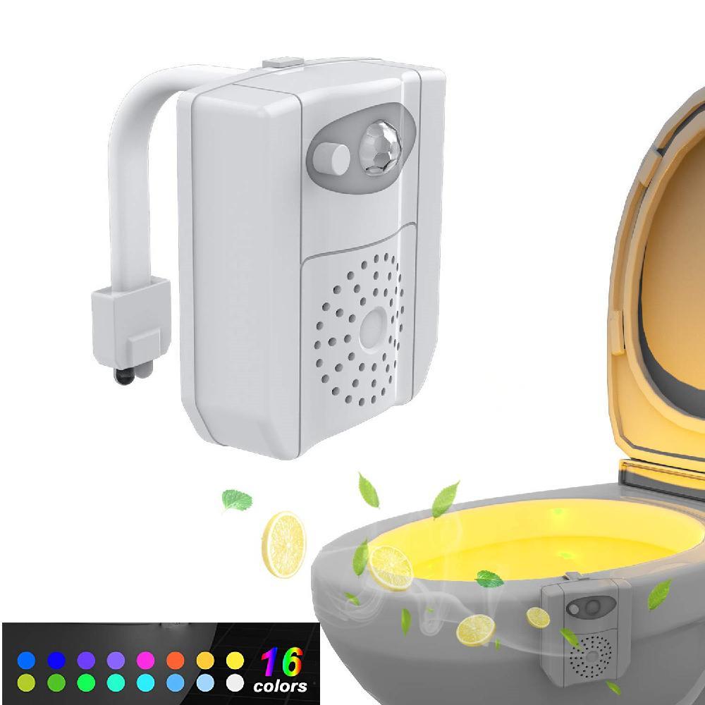 Top Selling 16-Color UV Sanitizer Toilet Bowl Light Night Light Motion Sensor Activated LED Lamp Gadget