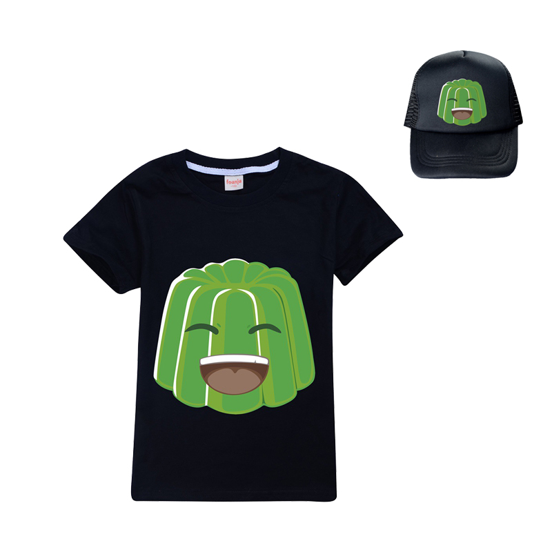 3-12 Summer Jelly Youtube Boys Clothes Fashion T Shirt+sun hat Toddler Kids Clothes Girls Outfits Spring Child Student Clothing 1