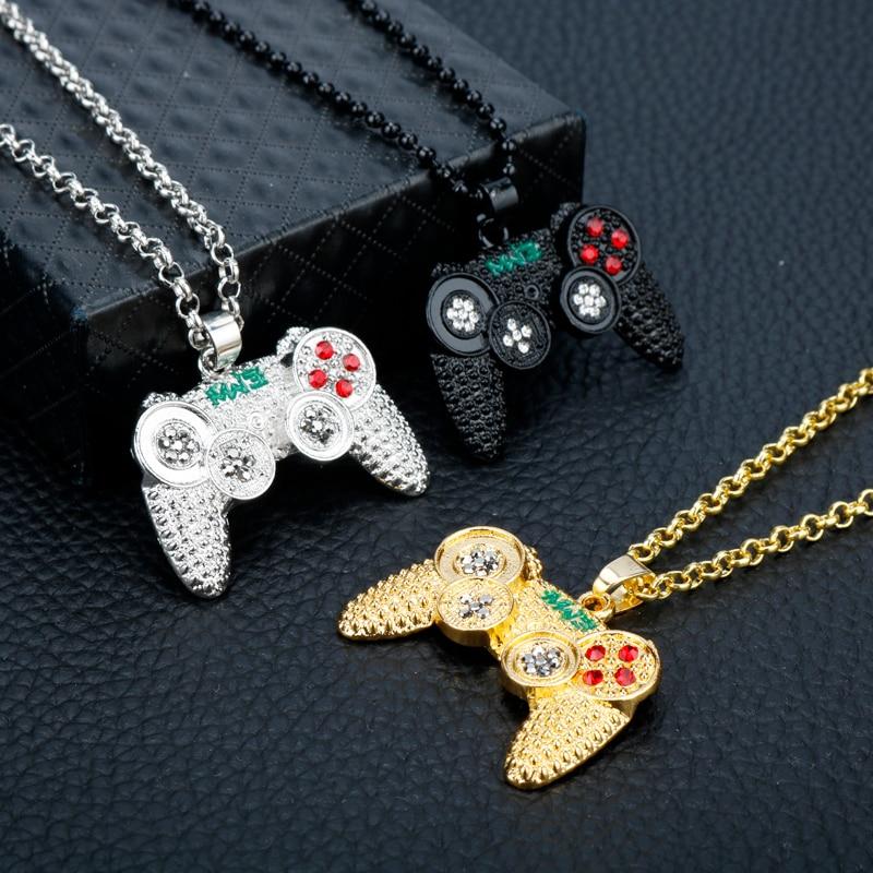 Hip Hop Bling Kristall Gamepad Game Controller Anhänger Halskette Kette Geschenk