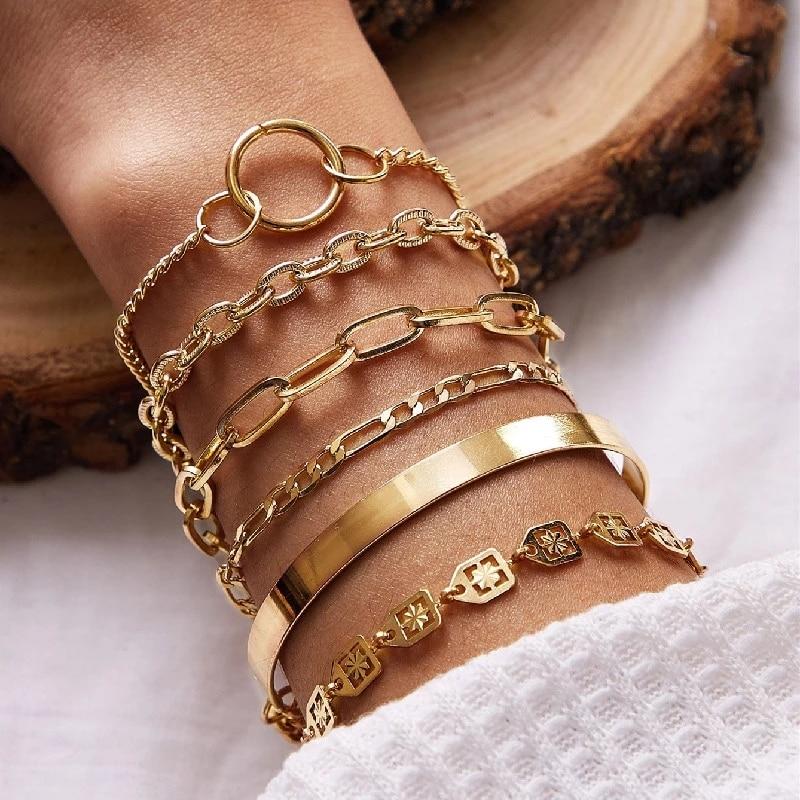 6Pcs/set Gold Color Round Circle Chain Bracelet Bangle for Women Geometric Zigzag Shape Bangles Vintage Chunky Chain Braclets