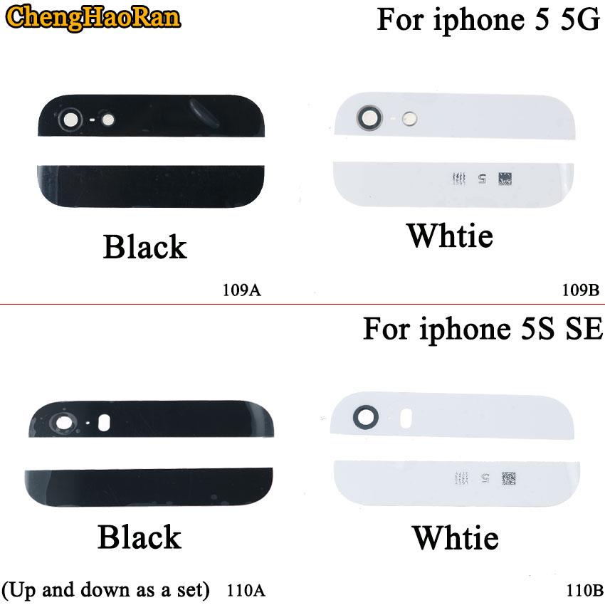 ChengHaoRan 2pcs High Quality Back Cover Glass Rear for iPhone 5G 5S SE Top And Bottom With Camera Flash lens Preinstalled image
