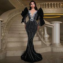 Dubaj czarny długi rękaw Mermaid suknie wieczorowe 2020 Sexy tłoczenie V Neck ciężki zroszony Arabia saudyjska suknie wieczorowe formalna sukienka tanie tanio OEING V-neck CN (pochodzenie) Pełna Pociąg sweep Długość podłogi Prom dresses REGULAR Tulle Aplikacje Frezowanie Koronki