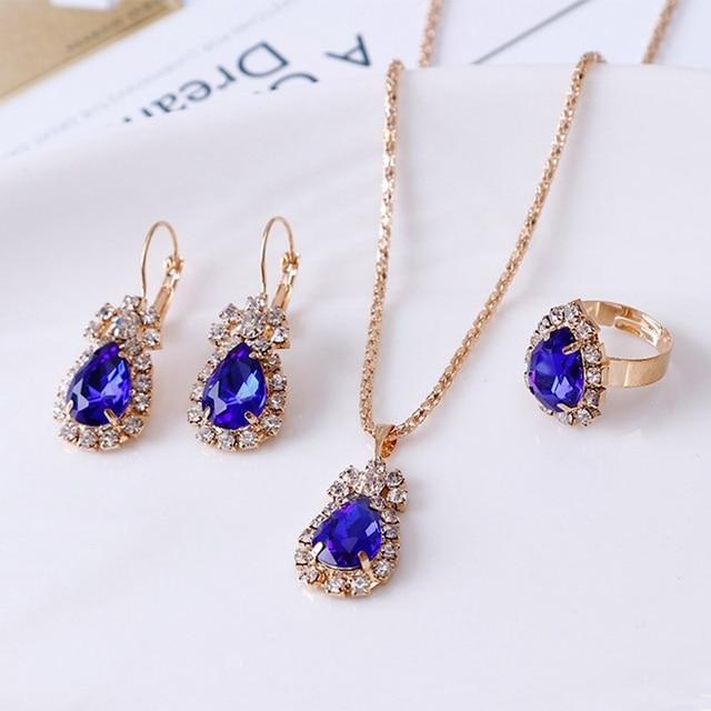 3Colors Jewelry Sets Hoop Earrings Water Drop Earrings Red Jewelry Set Rhinestones For Women Pendant Necklace/Earrings/Rings 2