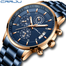 Mens Watch CRRJU Men Chronograph Luxury Waterproof Watches Fashion Blue Business Stainless Steel Watch For Men relogio masculino