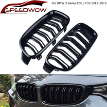 SPEEDWOW 1 Pair Car Front Grille Gloss Black Front Kidney Grille For BMW 3Series F30 F31 F35 2013-2019 Racing Grills Car Styling