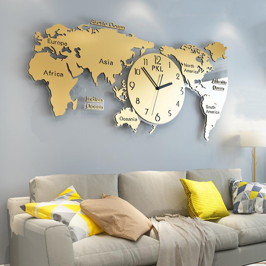 Luxury World Map Wall Clock Modern Design Living Room 3D Decoration Elegant Large Metal Clocks Wall Watch Home Decor 45 Inch
