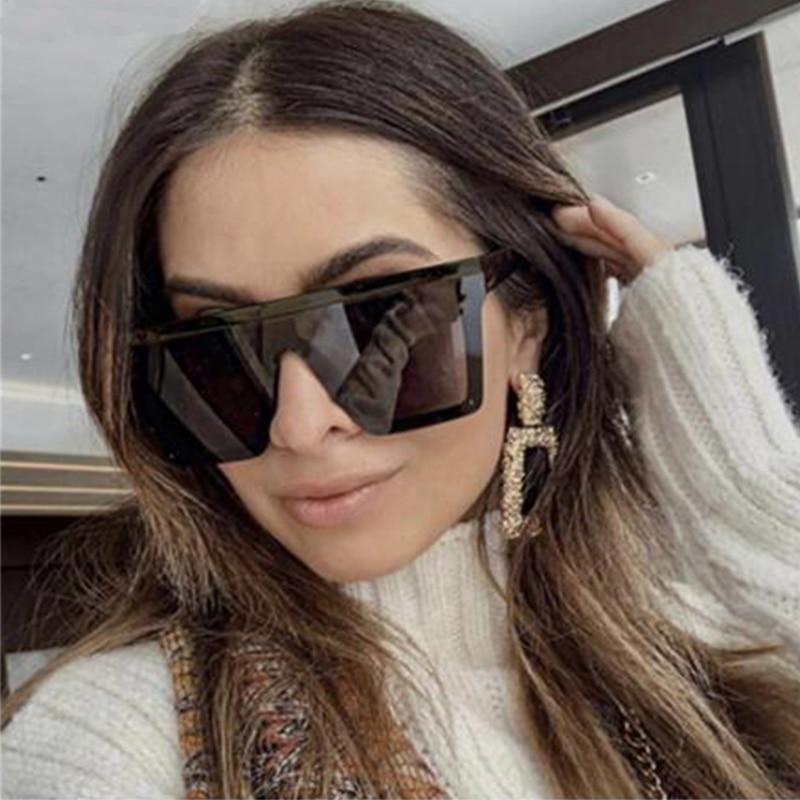 Женские солнцезащитные очки, классические черные квадратные очки большого размера, женские трендовые солнцезащитные очки без оправы, 2020