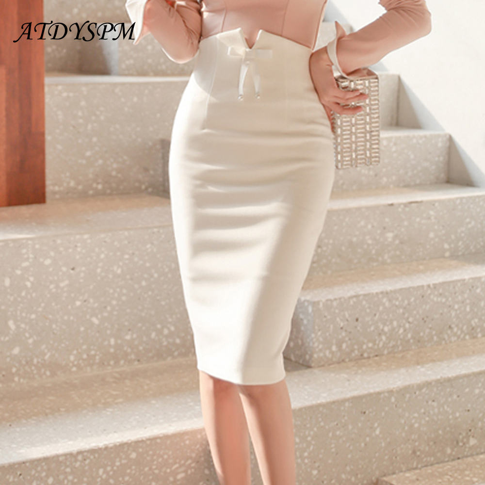 Fashion White Skirts Womens Ladies High Waisted Pencil Midi Skirt For Women Elegant Office Bow Plus Size OL Skirts Jupe Femme