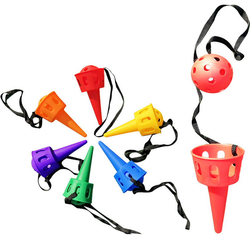 Fun Ball And Cup Toy Set Children Outdoor Throw And Catch Ball Game Toy Softball For Beginner Kid Motor Skill Training Equipment