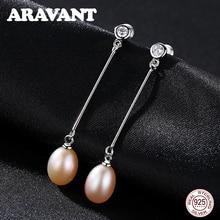 925 Sterling Silver Natural Pearl Earrings Jewelry Fashion Long Drop Earring For Women