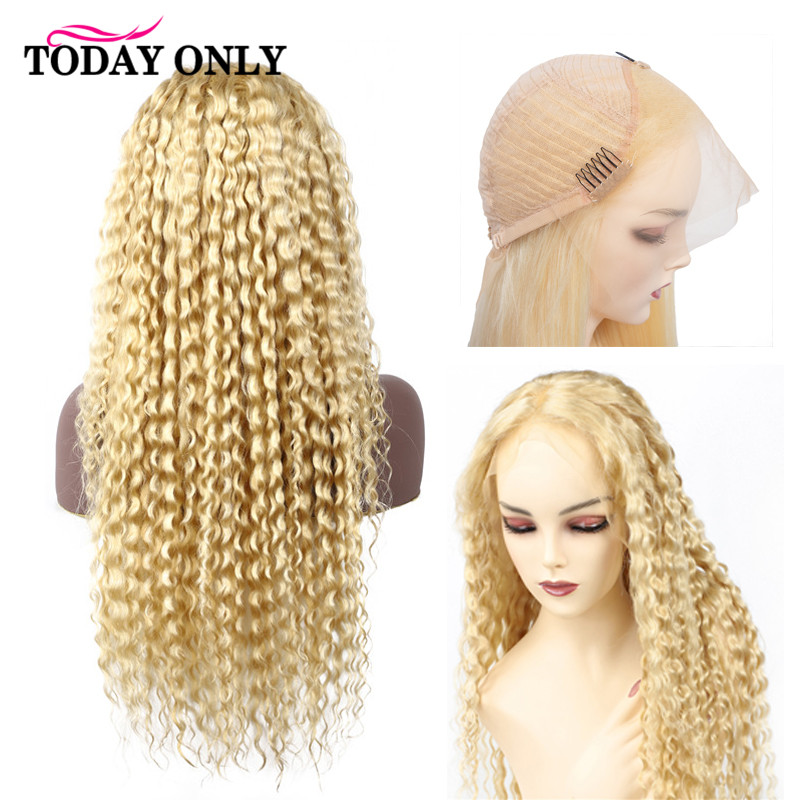 TODAY ONLY 13x4 613 Lace Front Wig Blonde Human Hair Wigs Pre Plucked Brazilian Kinky Curly Wig 150% Density Lace Wig Remy image