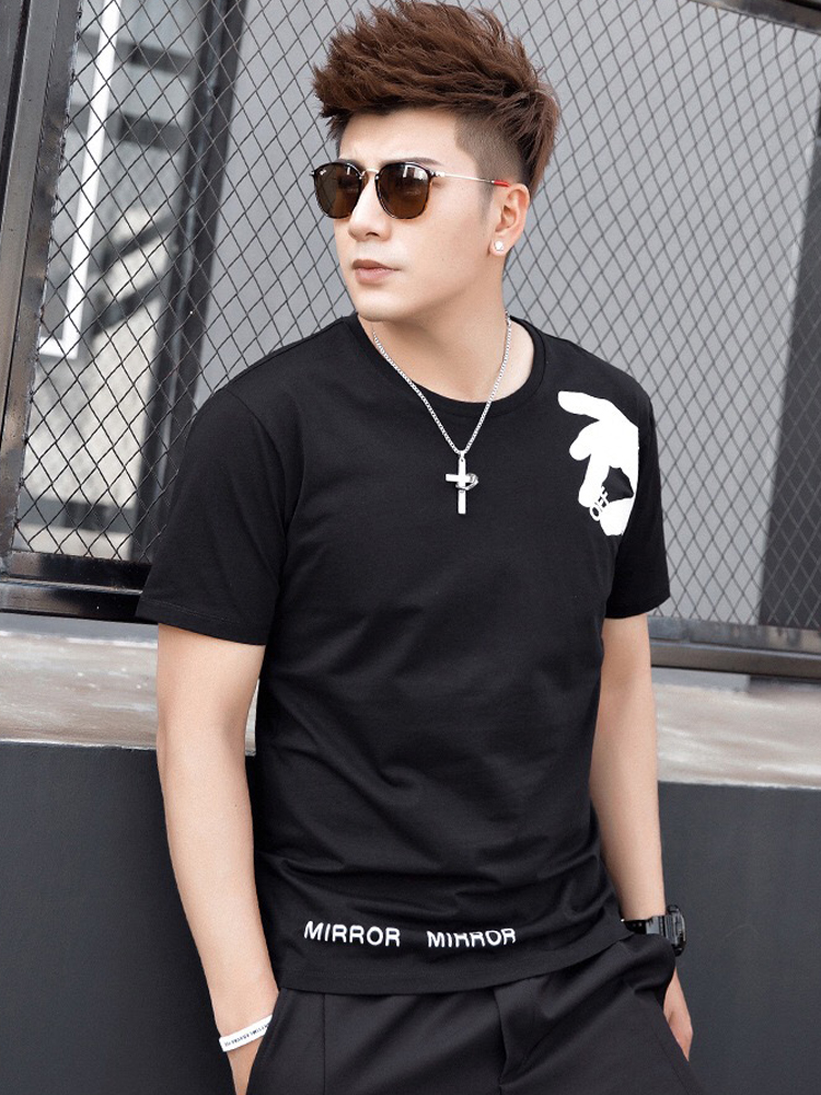 Cotton Tshirt Short Hip-Hop Brand-Clothing New-Arrival Off Casual Knitted Print O-Neck