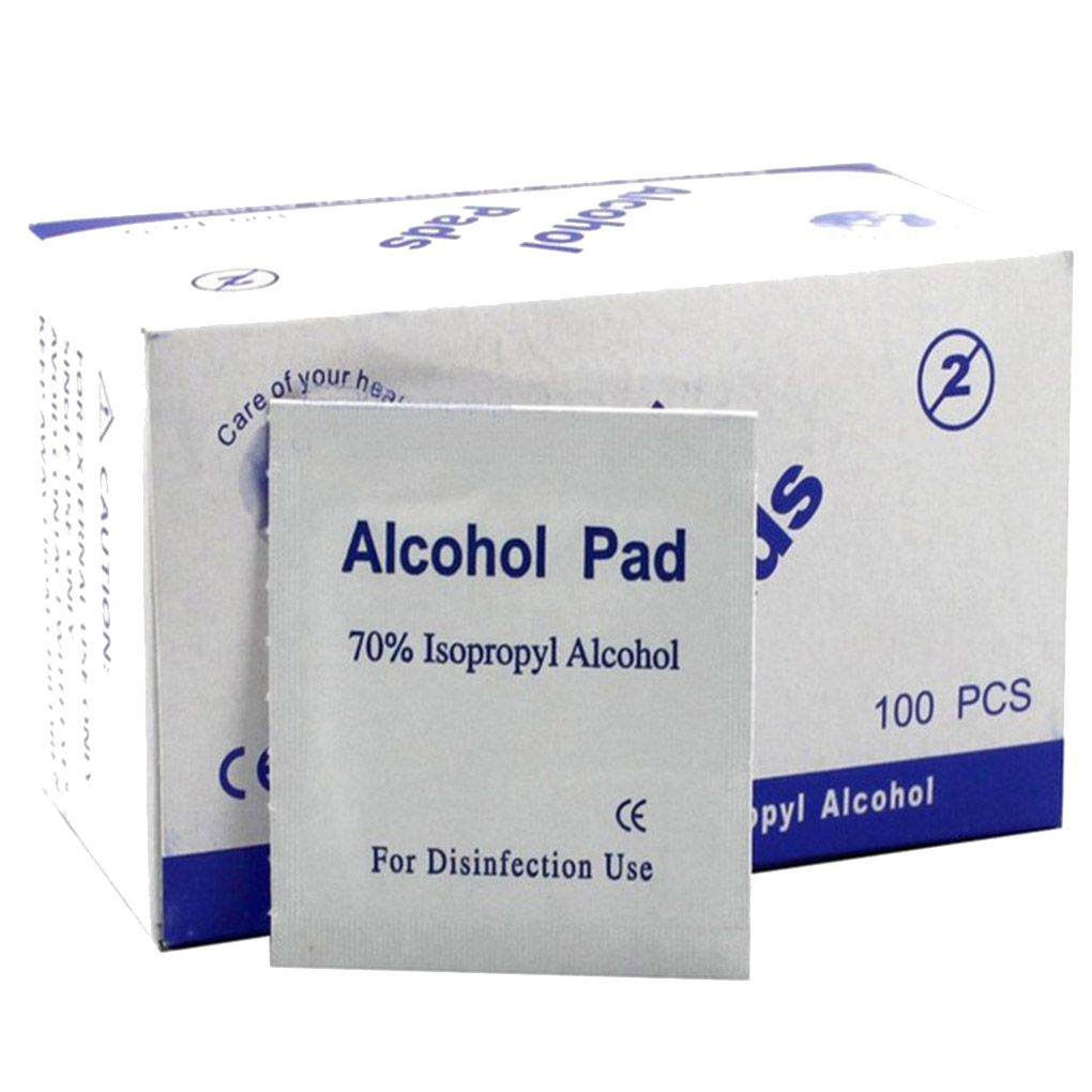 100PCS Portable Alcohol Swabs Pads Wipes Antiseptic Cleanser Cleaning Sterilization First Aid Home Makeup Disinfectant Cotton