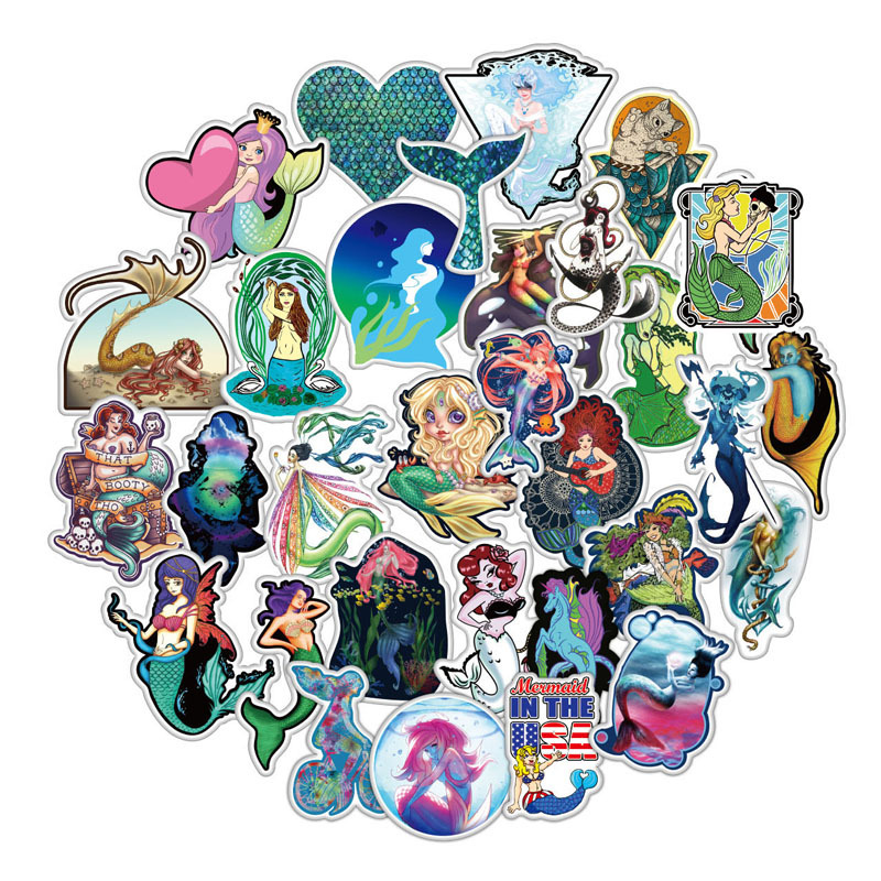 Mermaid Laptop Decals Pack 50Pcs Stickers for Teens Girl Gift for ipad Car Luggage Water Bottle Bedroom