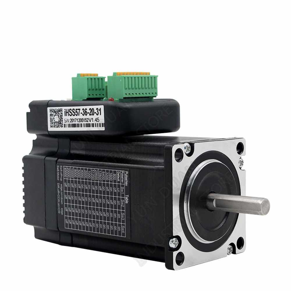 2Nm 286Oz. di JMC Terintegrasi NEMA23 57 Mm 57 36V DC 1500 Rpm Dsp Hybrid Loop Tertutup Driver Motor Encoder Semua -Dalam Satu Mudah Servo