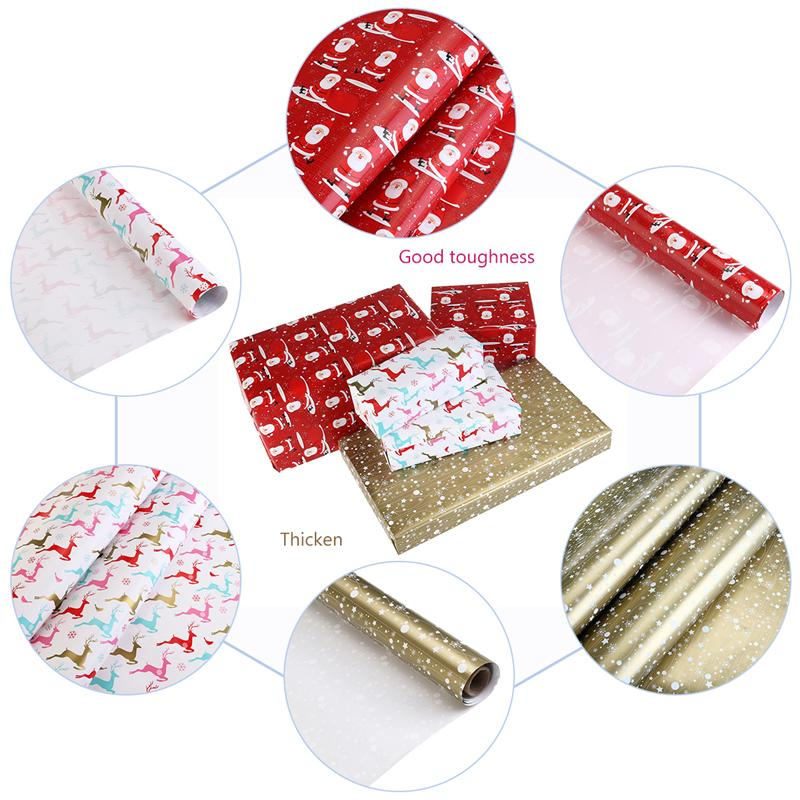 WINOMO3 Rolls Christmas Gift Wrapping Paper 2 Rolsl Common Wrapping Paper And 1 Roll Golden Wrapping Paper 70 400cm in Party DIY Decorations from Home Garden